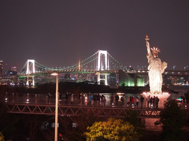 Rainbow Bridge and Tokyo Tower and The Statue of Liberty