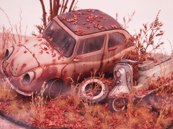Diorama of abandoned car