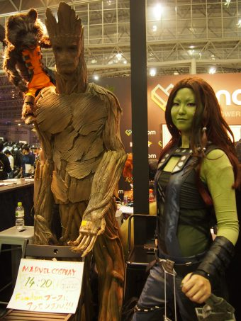 Cosplayer of Gamora from Guardians of the Galaxy and Rocket and Groot