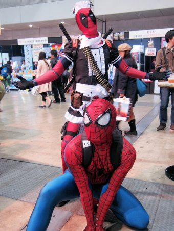 Cosplayers of Spiderman and Deadpool
