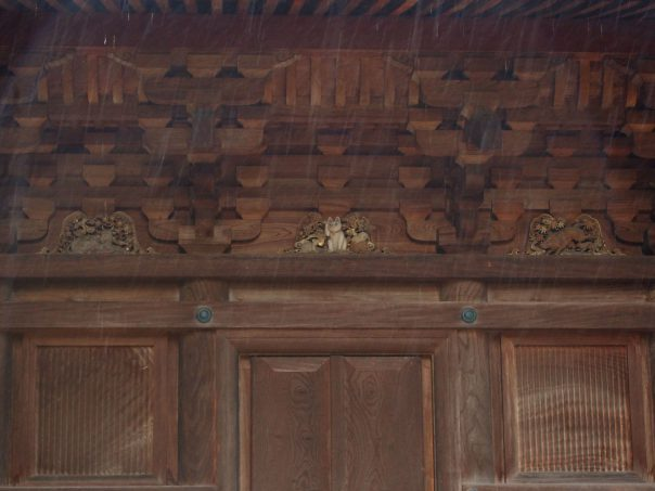 Carved Cat on Three-storied pagoda at Gotokuji Temple