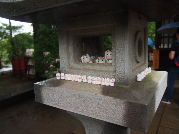 Cat Statues in Stone Lantern